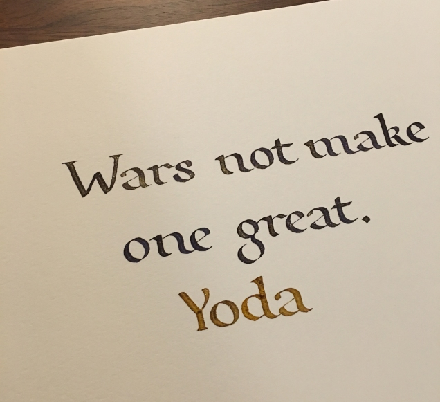 Yoda is great to pull lines from. Very quotable. Inks: Diamine Shimmering Seas and Golden Sands Script: Foundational